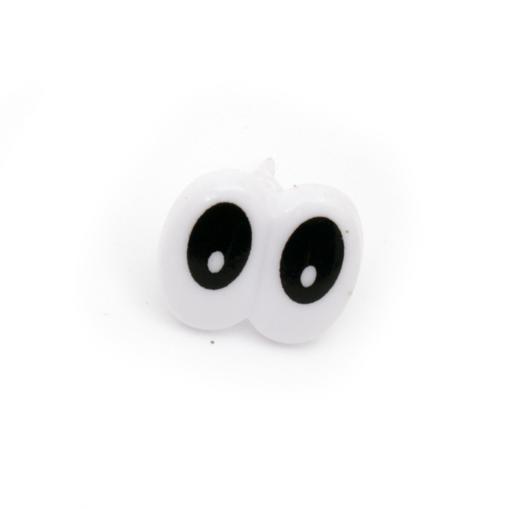 Painted Eyes for Decorations, DIY Crafts  18x17 mm black and white with screw 12 mm - 10 pieces