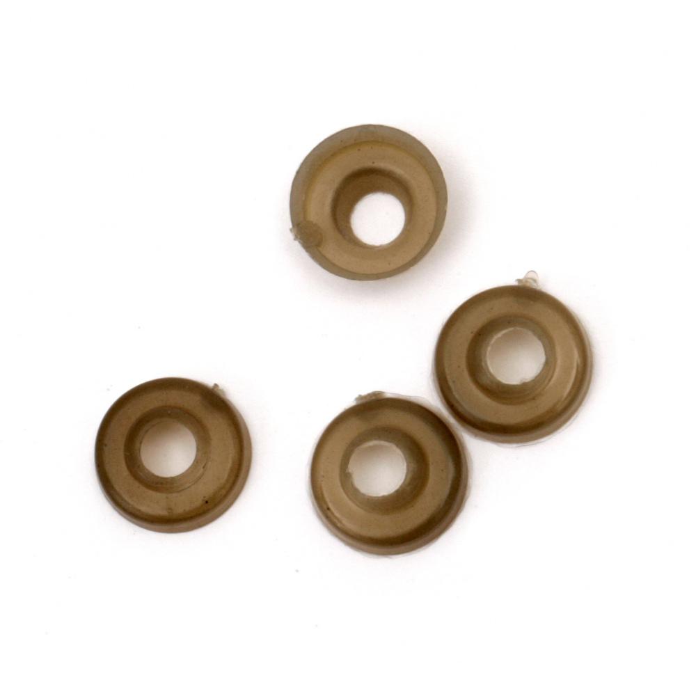 Bază plastic gri-maron 8x4 mm orificiu 3,5 mm -50 bucăți