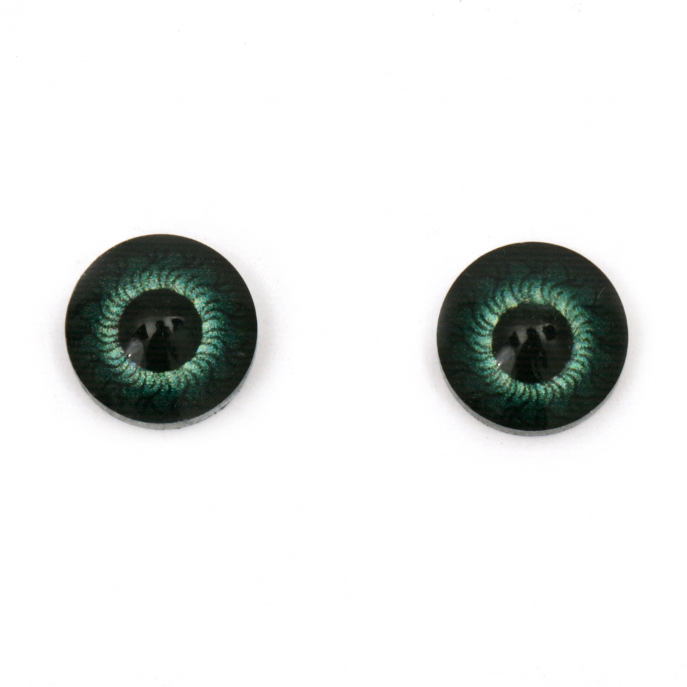 Resin Eyes for Decorations, DIY Crafts Handmade Accessories, 12x4.5 mm green - 10 pieces