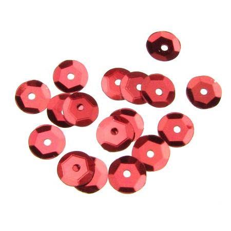 Στρόγγυλες πούλιες, 6 mm κόκκινο - 20 γραμμάρια