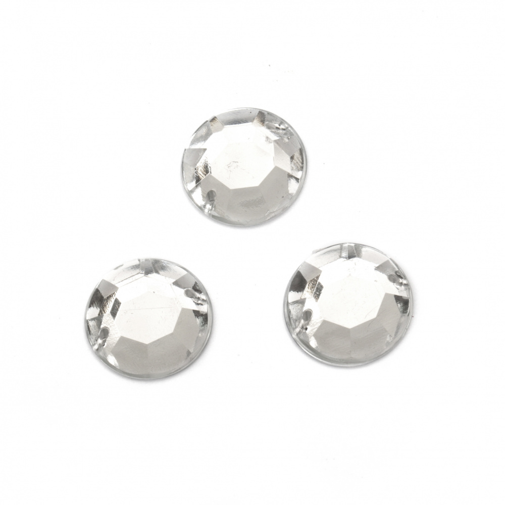 Acrylic stone for sewing 16 mm round white transparent faceted - 10 pieces