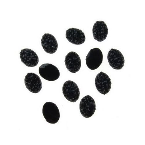 Acrylic stone for gluing cabochon type 6x8 mm oval black with relief -20 pieces