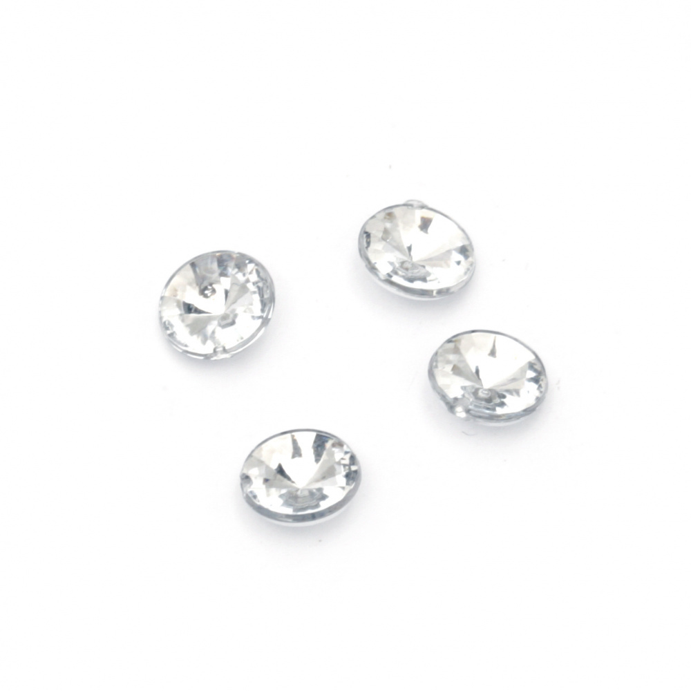 Acrylic Rhinestone, Hot-Fix Decoration, Clothes, DIY, Craft, Jewelry Making  7 mm round transparent faceted -50 pieces