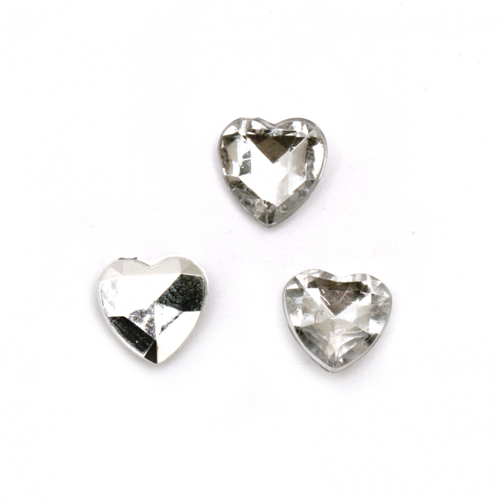 Acrylic Rhinestone, Hot-Fix, DIY, Decoration 10x4 mm heart transparent white faceted -20 pieces