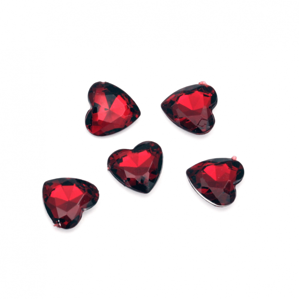 Acrylic Rhinestone, Hot-Fix, DIY, Decoration 10x4 mm heart transparent red dark faceted -20 pieces