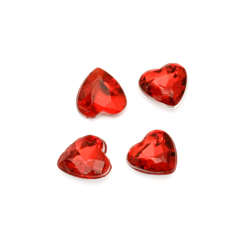 Acrylic stone Hot-Fix 8x3.5 mm heart transparent red faceted -50 pieces