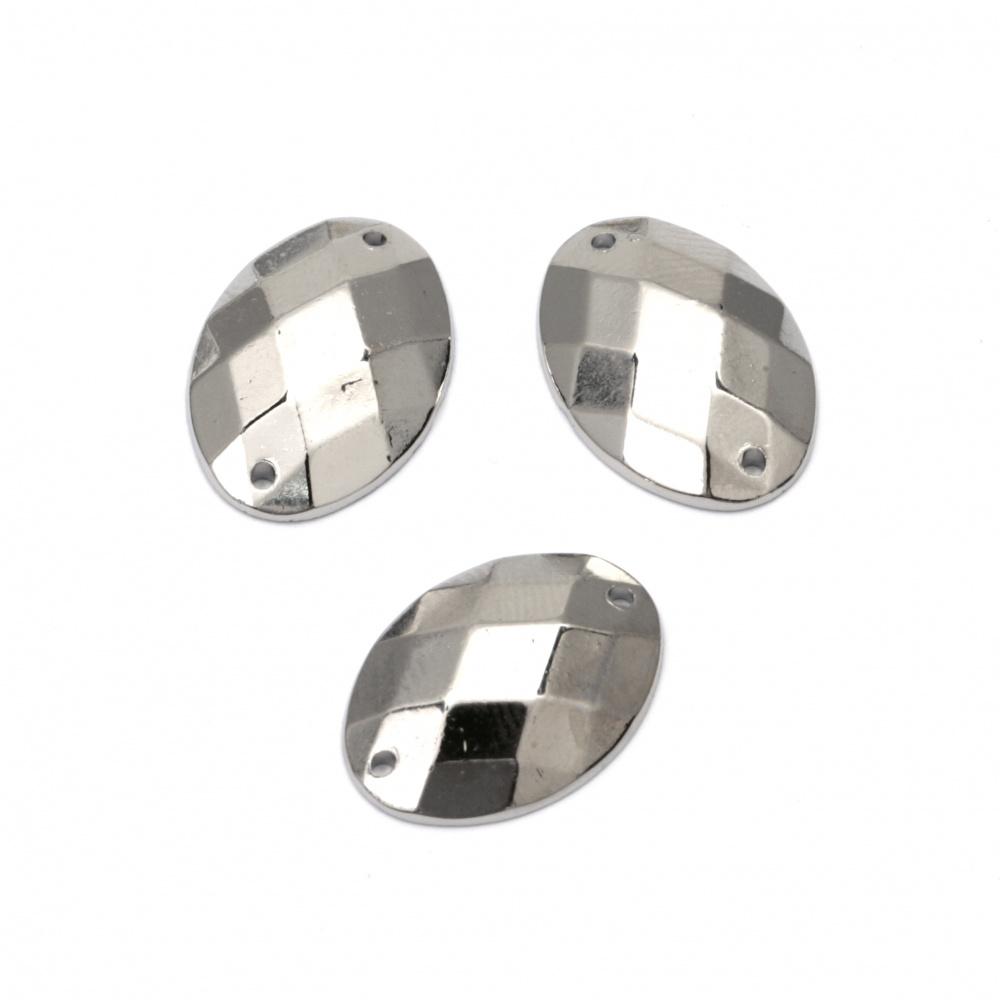 Piatra acrilica pentru cusut 13x18 mm culoare ovala argintiu - 25 bucati