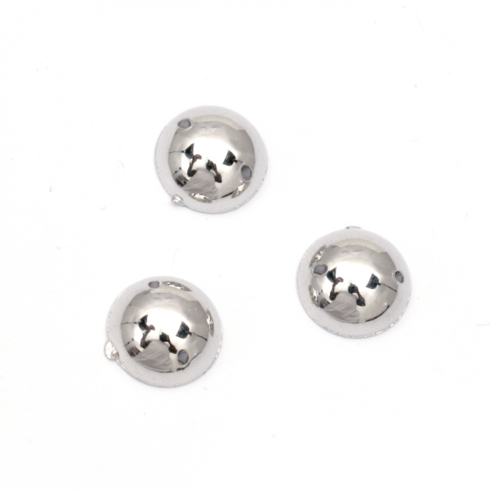 Bead hemisphere for sewing 10 mm color silver - 50 pieces