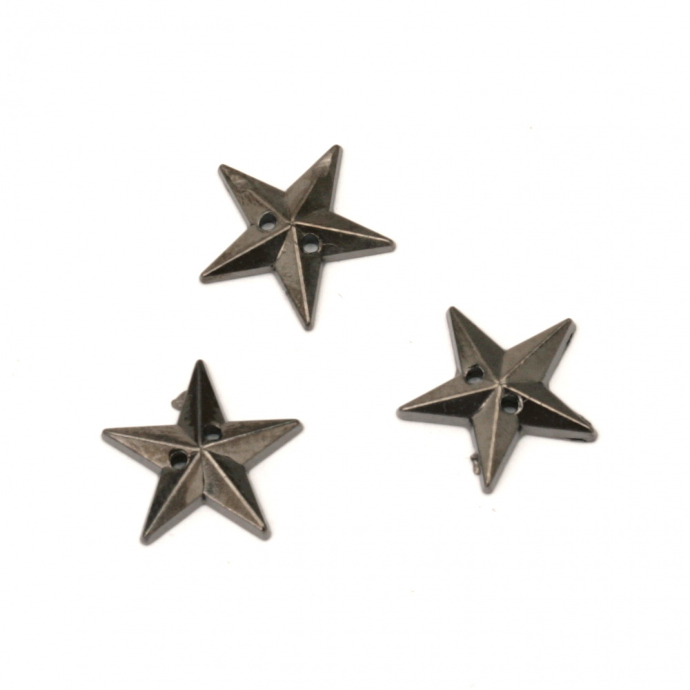Acrylic stone for sewing 12 mm star color graphite - 50 pieces