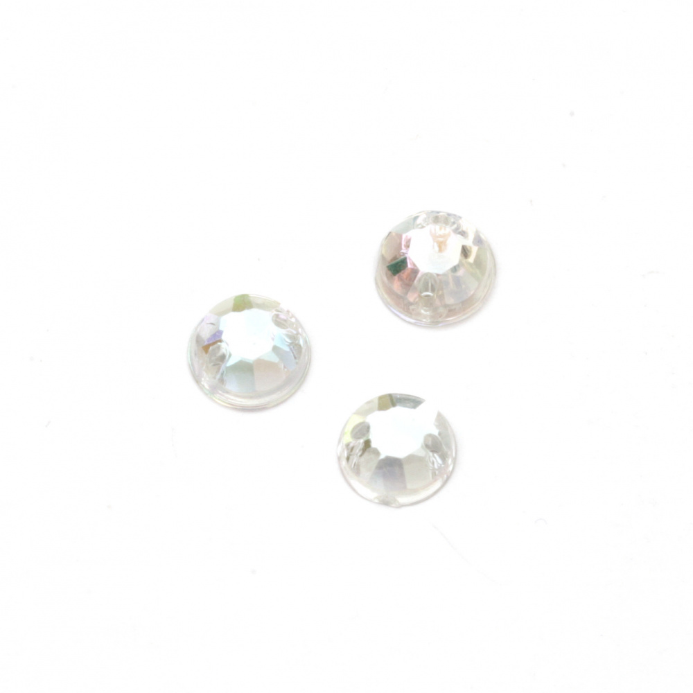 Acrylic stone for sewing 7mm round transparent rainbow faceted - 50 pieces