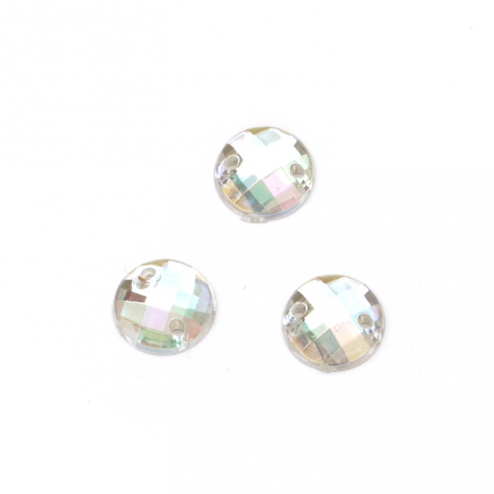 Sew On Acrylic Rhinestone, DIY Clothes, Decoration 10 mm round white transparent faceted arc - 25 pieces