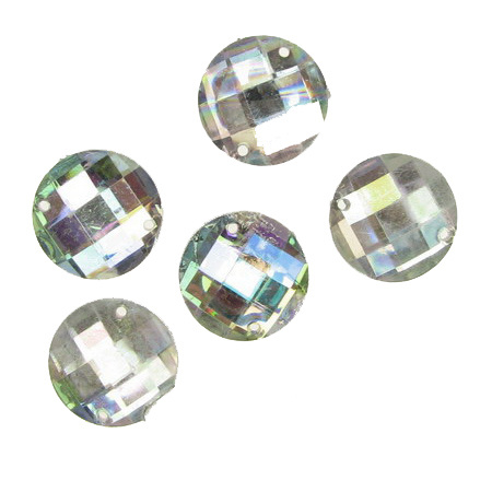Sew On Acrylic Rhinestone, DIY Clothes, Decoration14 mm round white arc faceted -50 pieces