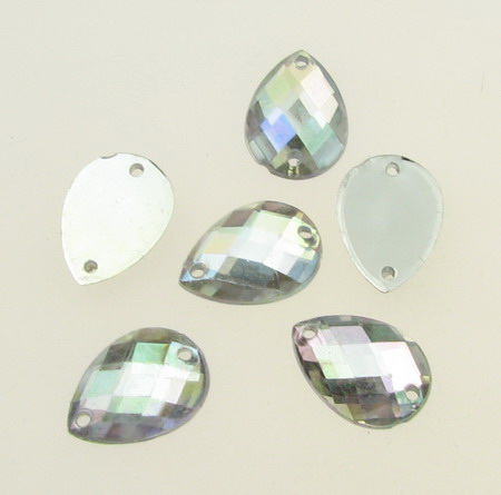 Sew On Acrylic Rhinestone, DIY Clothes, Decoration 10x14 mm drop white transparent arc faceted -25 pieces