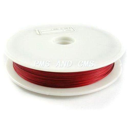 Steel Cord, Jewelry DIY Making 0.45 mm color red ~ 50 meters