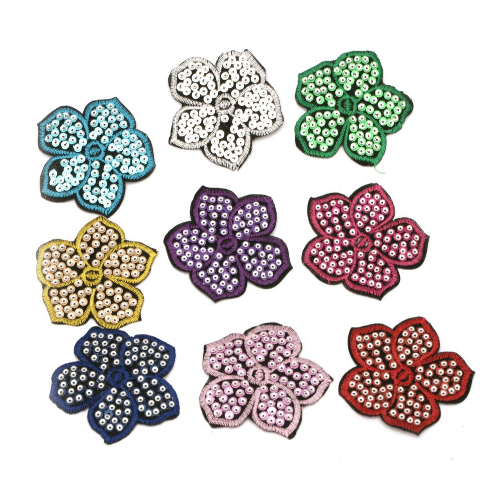 Aplicare adezivă 70x70 mm Floare cu paiete asortate