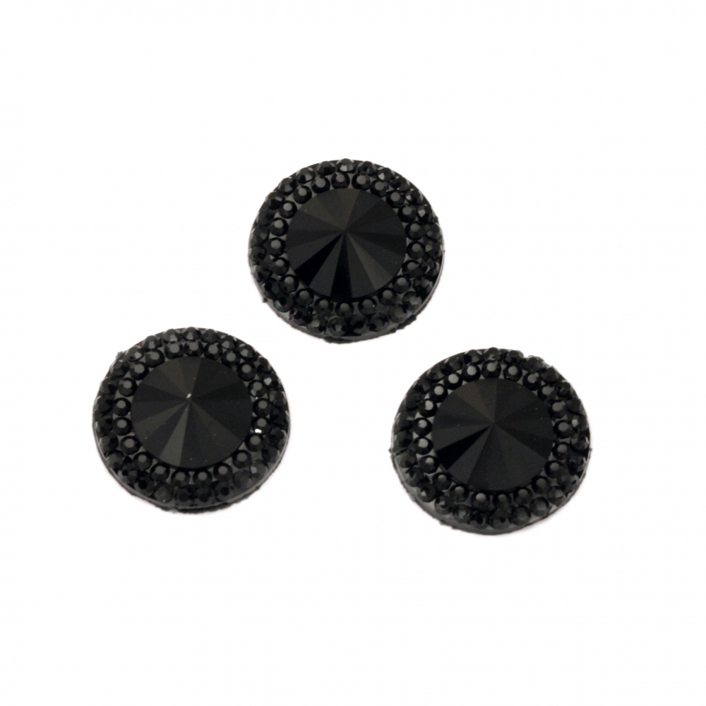 Acrylic stone for gluing circle 16 mm black faceted with relief -10 pieces