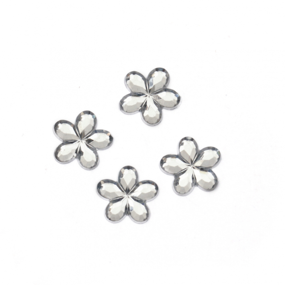 Acrylic stone for gluing flower 10 mm white transparent faceted -50 pieces