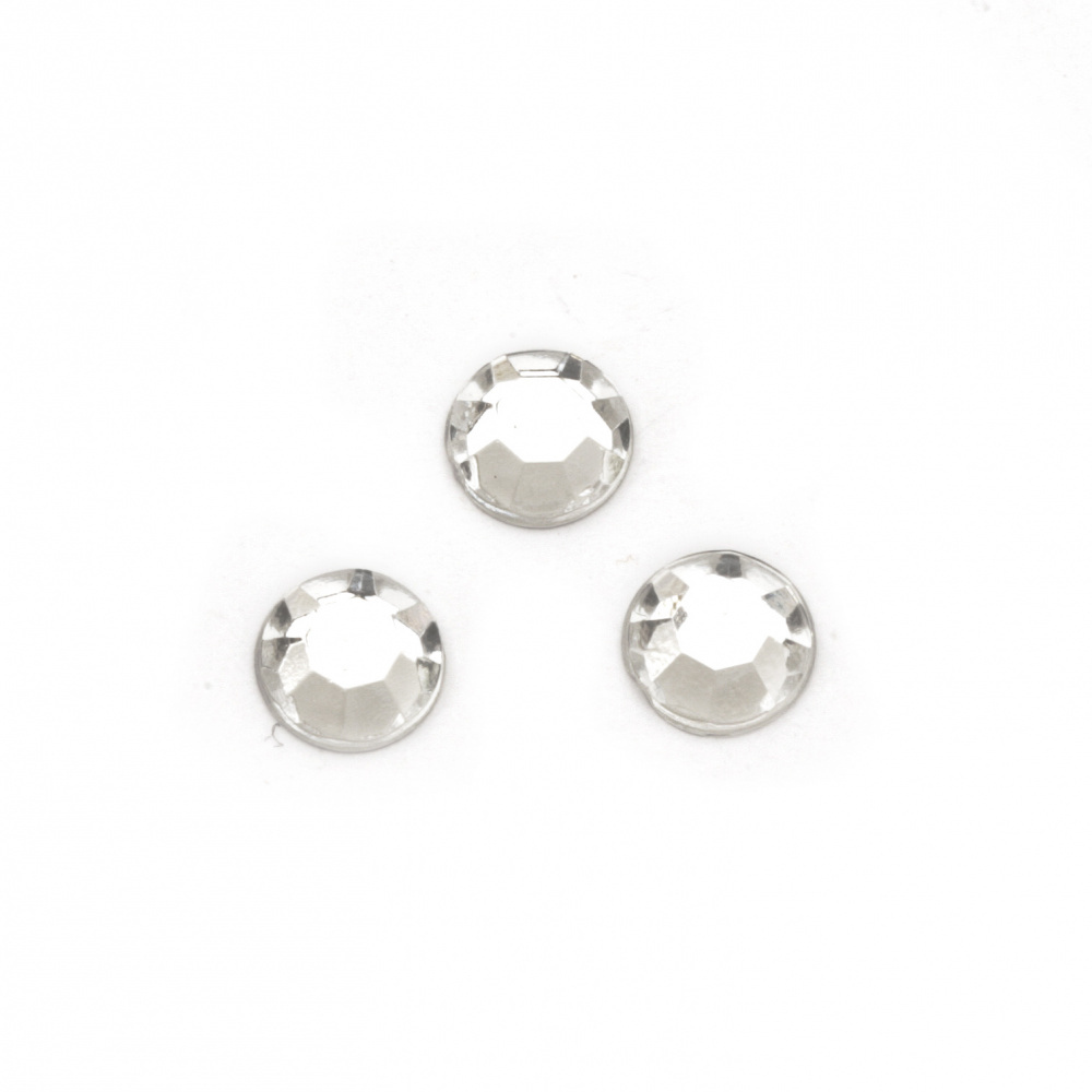 Acrylic stone for gluing 8 mm round transparent faceted -50 pieces