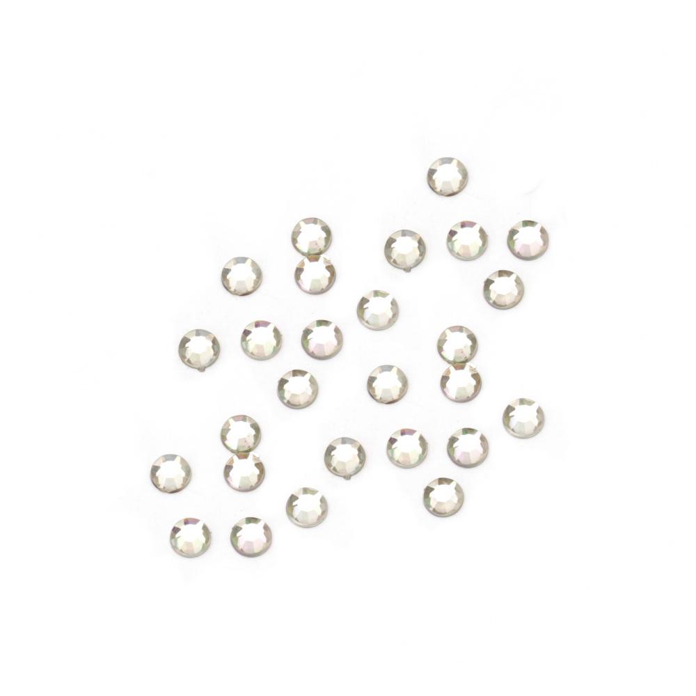 Камък акрил за лепене 3 мм кръг прозрачен дъга фасетиран първо качество -200 броя