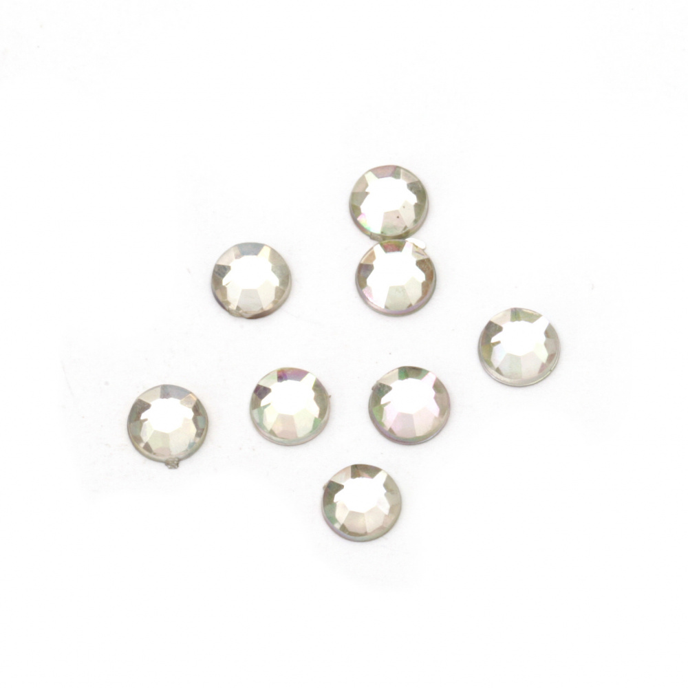 Acrylic stone for gluing 5 mm round transparent arc faceted first quality -100 pieces