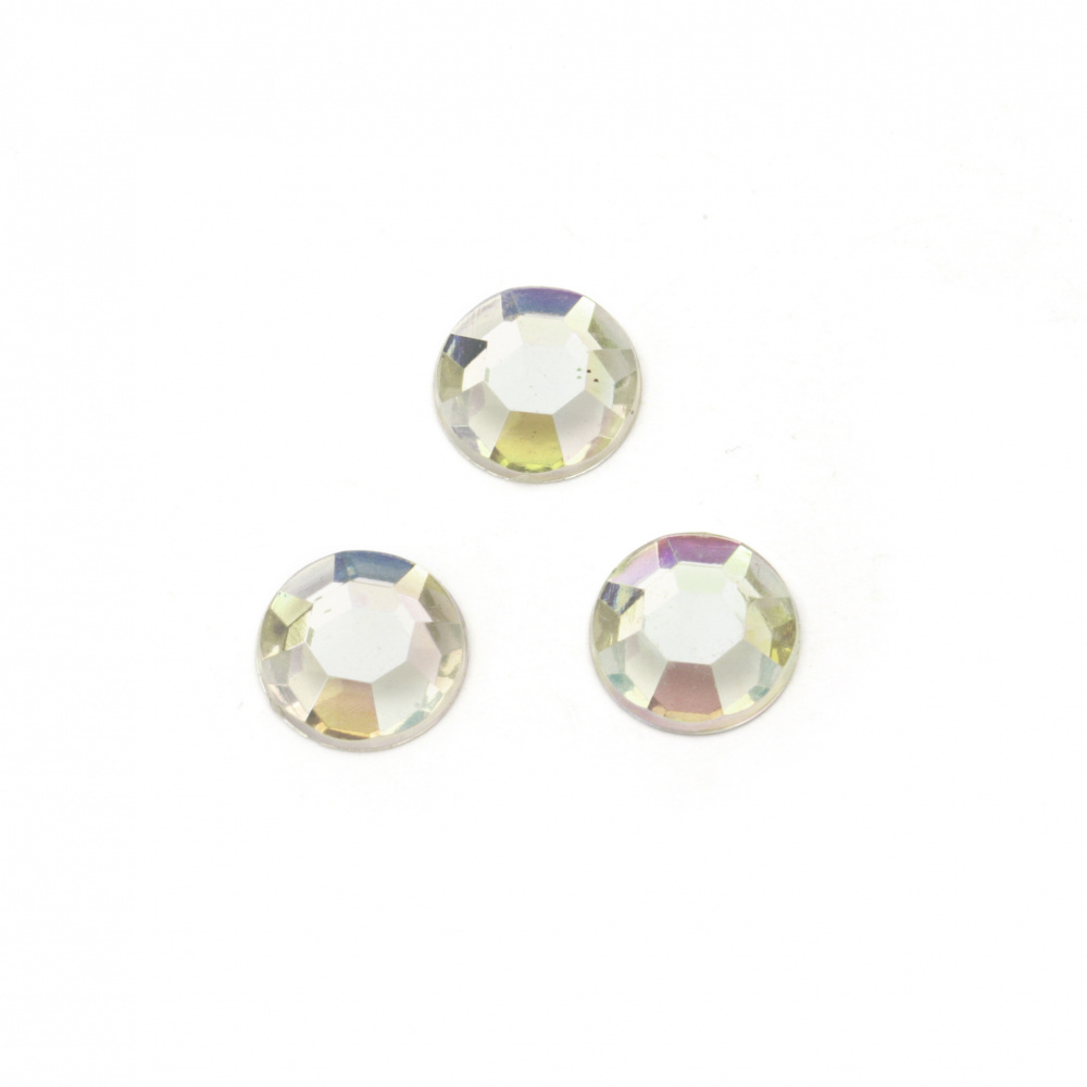 Acrylic stone for gluing 7 mm round transparent arc faceted first quality -50 pieces