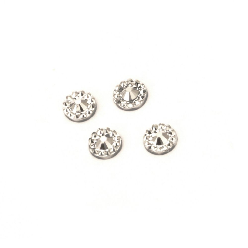 Piatra acrilica pentru lipire argintiu forma  rotunda de 5 mm fatetate -100 bucati