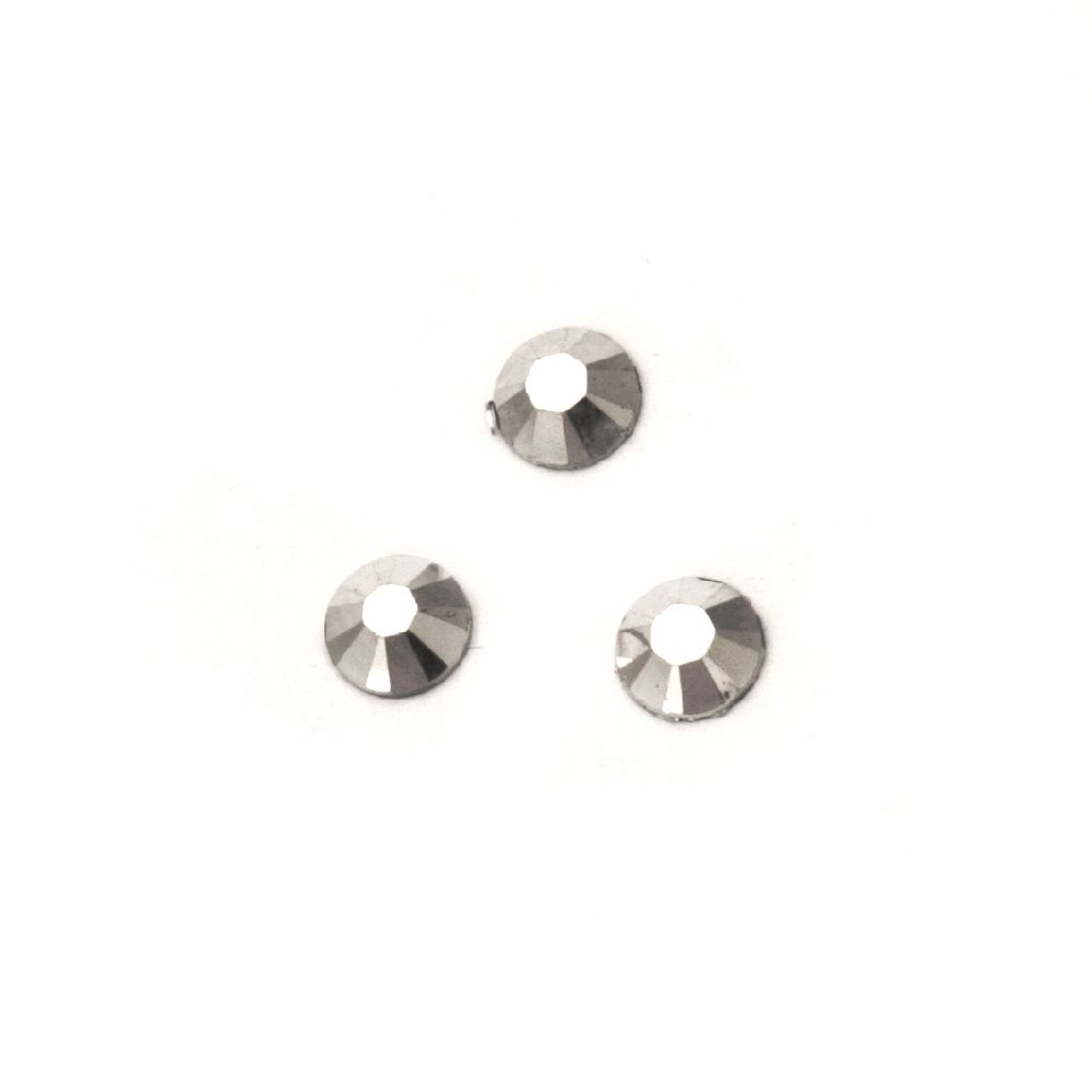 Acrylic stone for gluing 5 mm round silver solid faceted -100 pieces