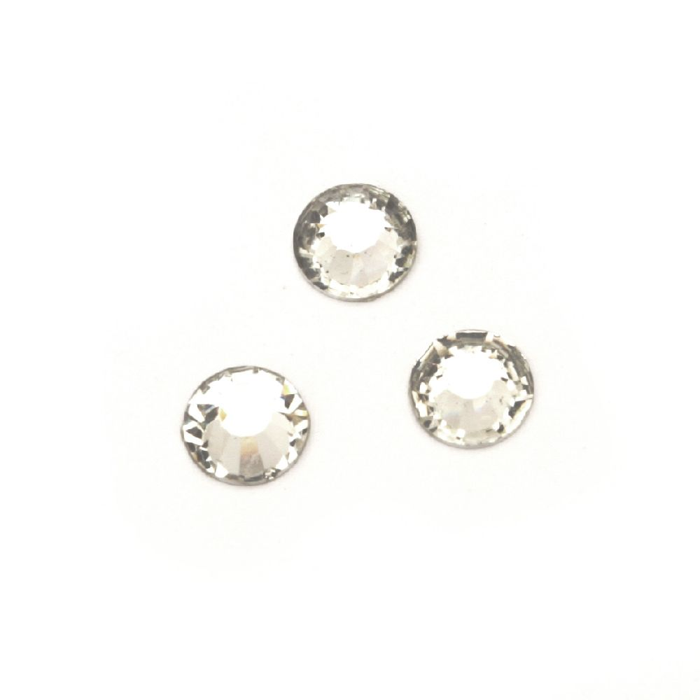 Acrylic stone for gluing 6 mm round transparent faceted -50 pieces