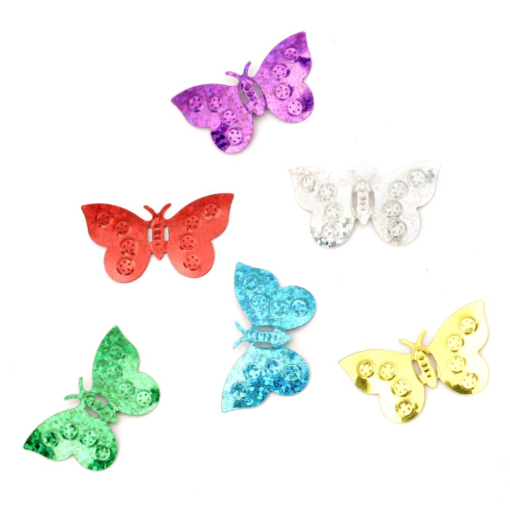 Sequins butterfly 22x38 mm rainbow Different types - 20 grams