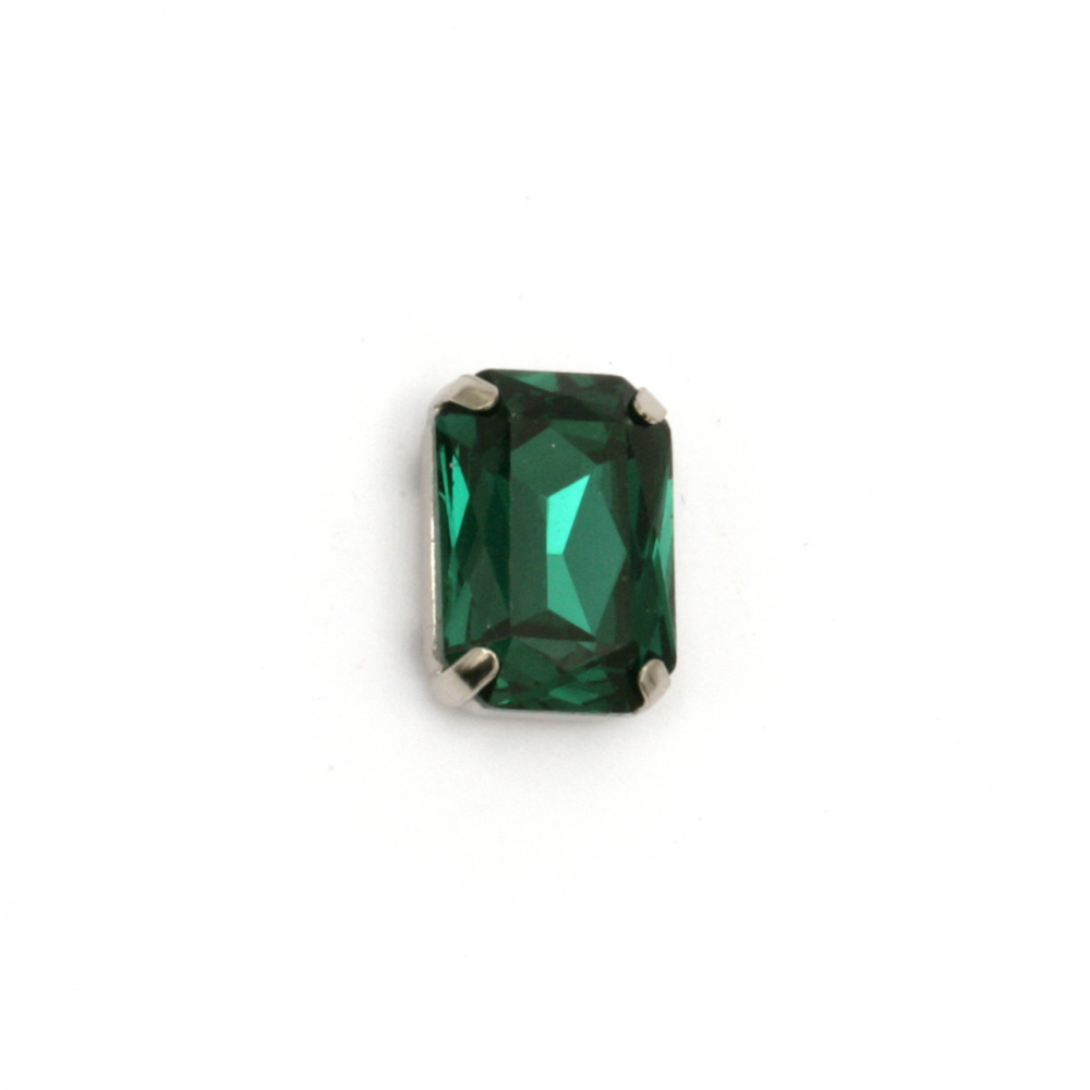 Crystal glass stone for sewing with metal base rectangle 14x10x6 mm hole 1 mm extra quality color green
