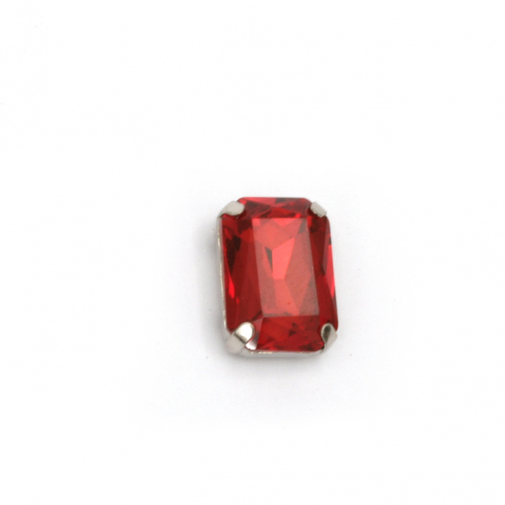 Crystal glass stone for sewing with metal base rectangle 14x10x6 mm hole 1 mm extra quality color red
