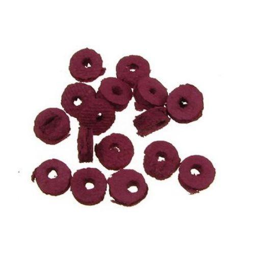 Χάντρα ροδέλα δέρμα 6x2 mm κυκλάμινο -12,5 γραμμάρια ~ 300 τεμάχια