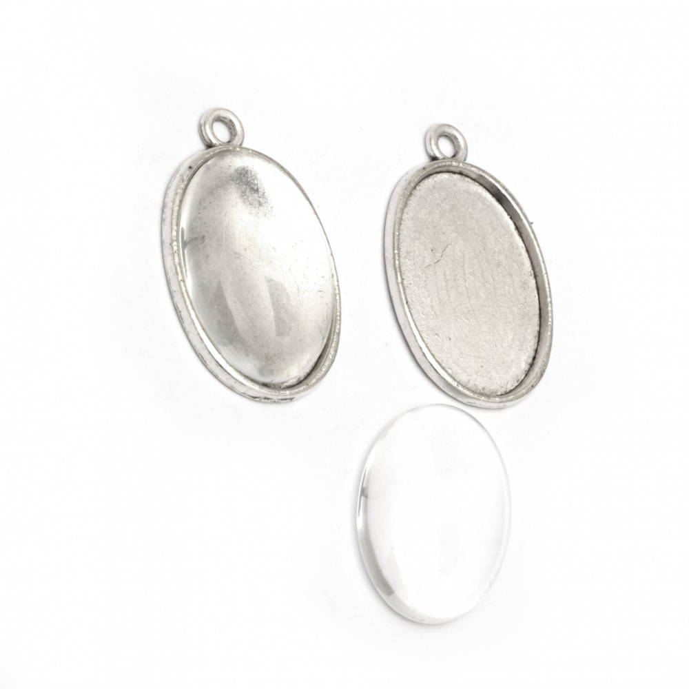 Set of metal pendant 32x20.5x2 mm hole 2.2 mm color old silver and cabochon transparent 25x18 mm -2 sets