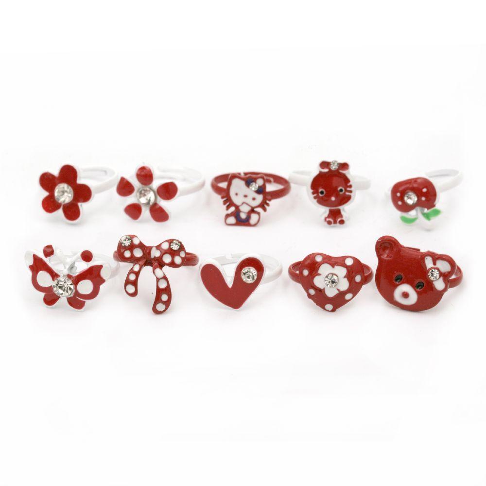 Inel metal alb și roșu asortate 10 tipuri