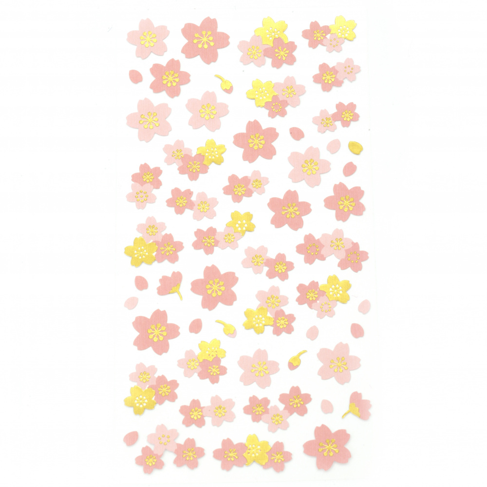 Self-adhesive stickers for decoration of assorted flowers