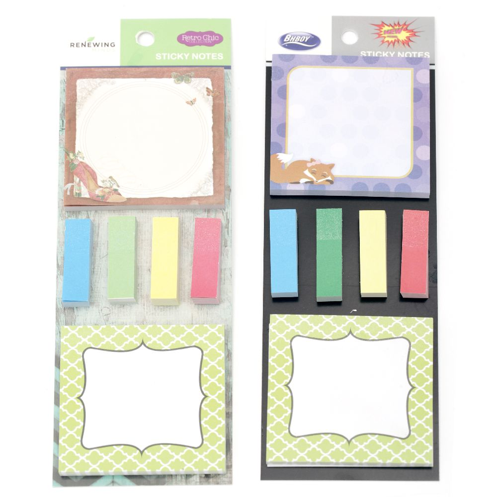 Σετ χαρτάκια αυτοκόλλητα 44x12 mm 4 τετράγωνα από 60 τεμάχια, 77x77 mm 2 τετράγωνα από 30 τεμάχια, διάφορα μοτίβα