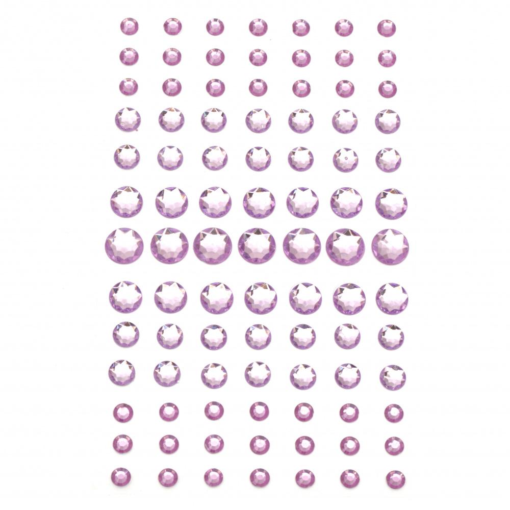 Самозалепващи камъни акрил 5±11 мм лилав - 91 броя