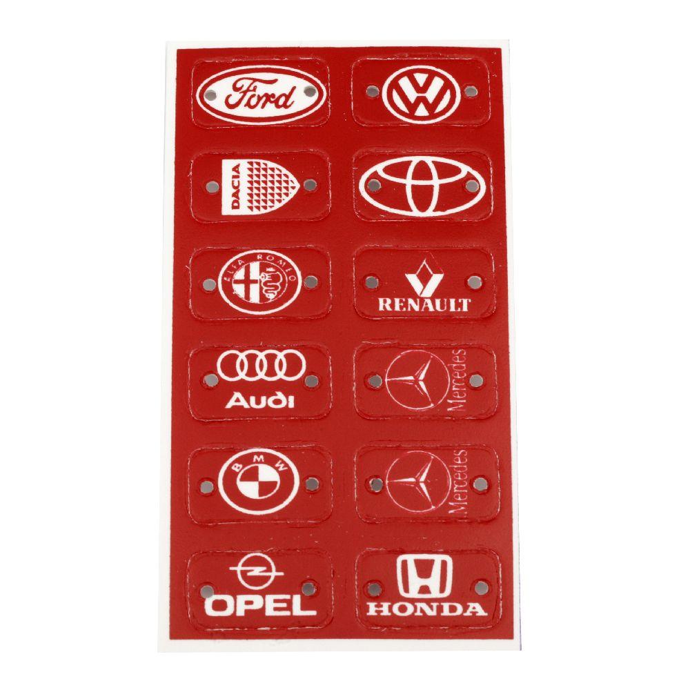 Свързващ елемент плочка с лого на автомобили 32x18 мм дупка 3 мм червена -12 броя