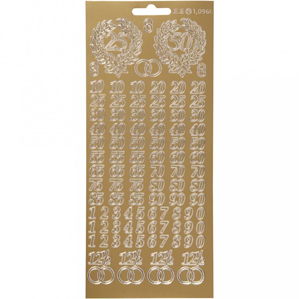 Самозалепващи стикери с мотив Юбилейни числаCreativ 10x23 см  злато -1 лист