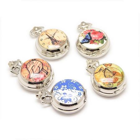 Часовник джобен метал цвят сребро отварящ кварц порцелан 40x29.5x15 мм АСОРТЕ