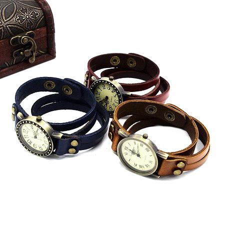Часовник естествена кожа метал цвят античен бронз 415x16x3 мм АСОРТЕ