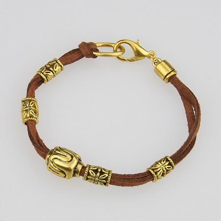 Гривна Тибетски стил велур метал цвят злато 190 мм кафява
