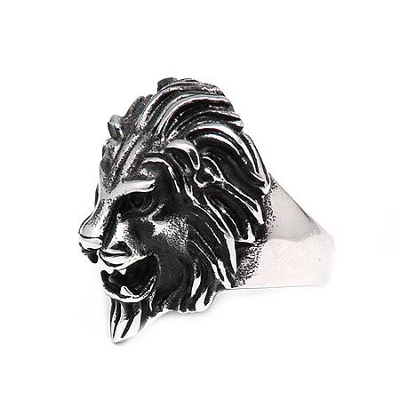 Пръстен стомана цвят антично сребро Лъв 17~23 мм