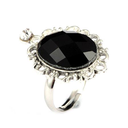 Пръстен метал стъкло кристал 17 мм черен