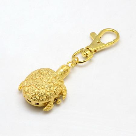 Ключодържател часовник отварящ метал цвят злато 85x30 мм костенурка