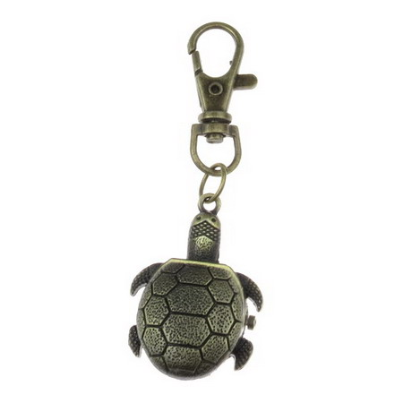 Ключодържател часовник отварящ метал цвят античен бронз 85 мм костенурка