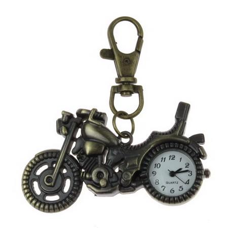 Ключодържател часовник отварящ метал цвят античен бронз 70 мм мотор