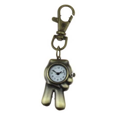 Ключодържател часовник отварящ метал цвят античен бронз 85 мм ръка