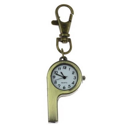 Ключодържател часовник отварящ метал цвят античен бронз 85 мм свирка
