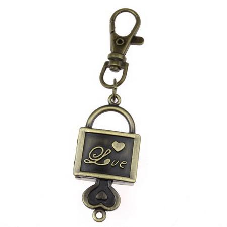 Ключодържател часовник отварящ метал цвят античен бронз 90 мм куфар